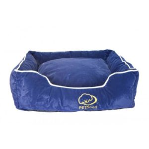Blue throne dog bed