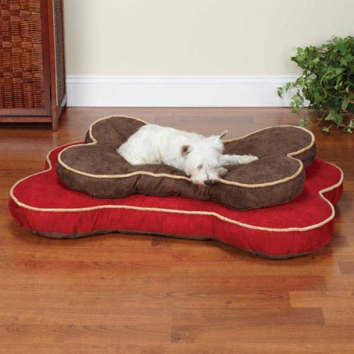 Slumber Pet Suede Bone Dog Beds With Dog