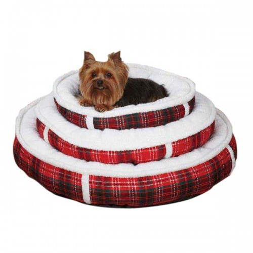 Slumber Pet Yuletide Tartan Dog Bed With Dog in Photo